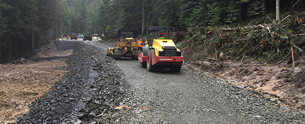crews build temporary road