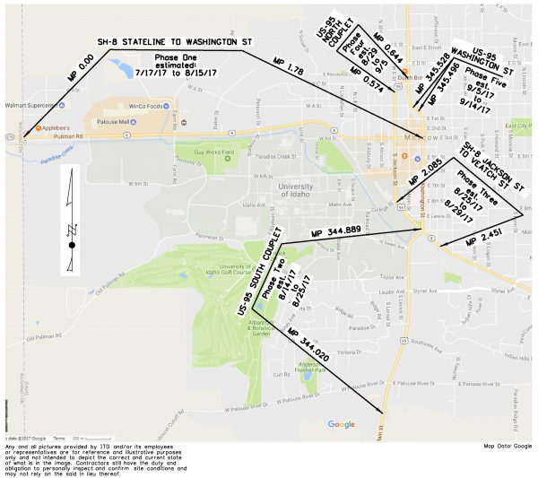 Map of Hwy 8 Mill and Fill