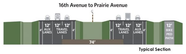 ID-41 16th Ave to Prairie Ave Typical Section
