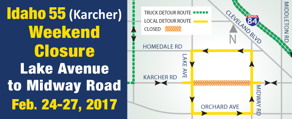 Nampa Road Closure Alert: Section of Karcher Road to close Feb. 24-27