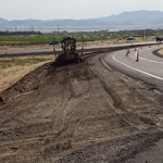 crews rebuild road ramp