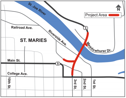 St. Maries Bridge Replacement Map