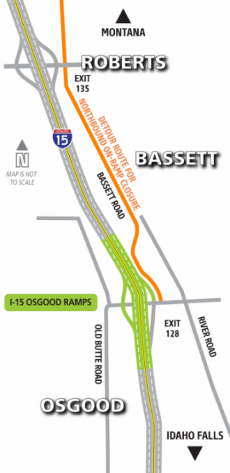 I-15 Osgood Exit Ramp Construction Map