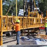 Crew works on bridge
