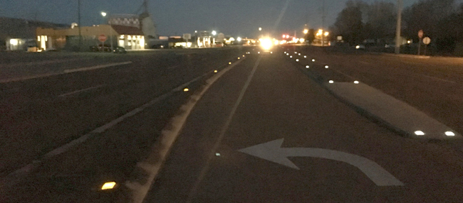 ITD experiments with solar-powered pavement markings in Pocatello