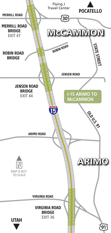 Arimo to McCammon Bridges Map