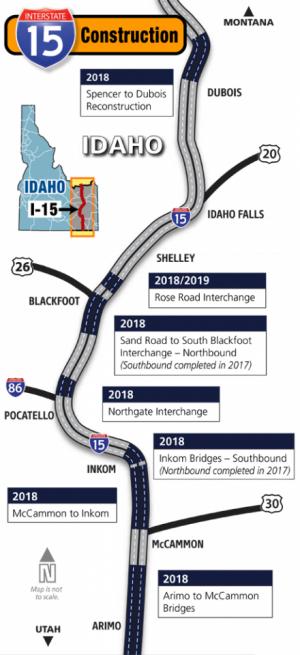 I-15 Construction Map 2018