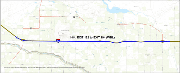 Westbound I-84 construction between Kimberly/Hansen and Ridgeway Road exits starts April 2