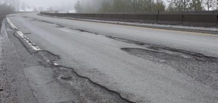 Spring conditions with roads breaking up