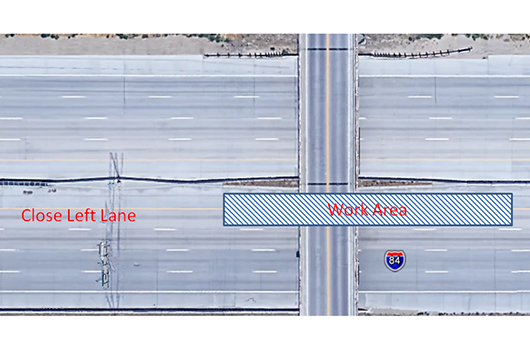 Single lane closure on eastbound I-84 Sunday July 1