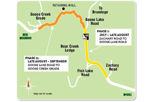 Idaho 55 Zachary to Goose Creek Map