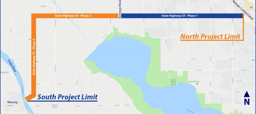 Map of seal coat project on ID-55 from Nampa to Marsing