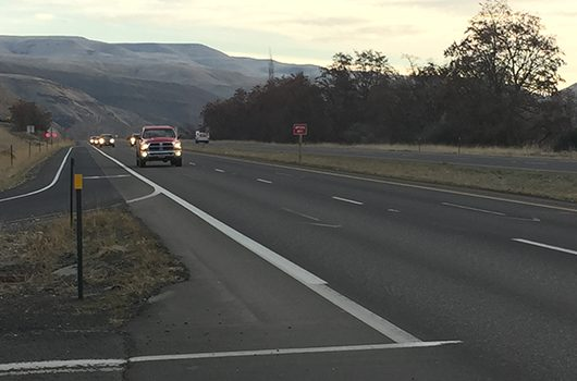 Traffic approaches on U.S. 12/95 near the Clearwater River Casino and Lodge in Lewiston.