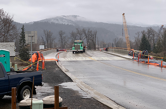 A truck crosses the railroad bridge on ID-3 in St. Maries after its reopening in Jan. 2019.