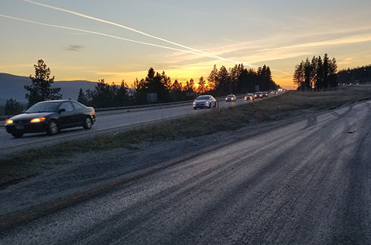 Vehicles travel near crossovers constructed in 2018 on I-90.