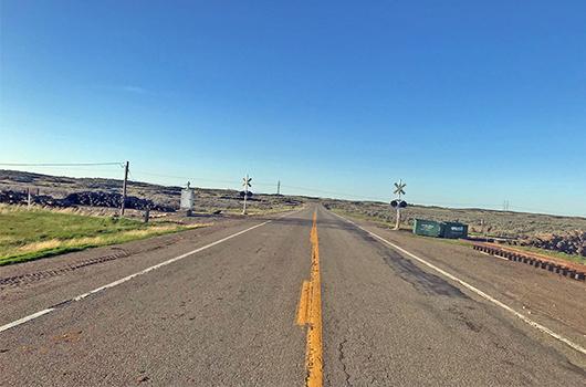 Road closure on ID-25 at Eastern Idaho Railroad crossing near Hunt