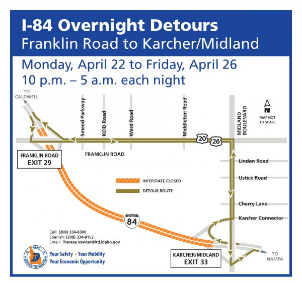 Detour map for I-84 overnight closures