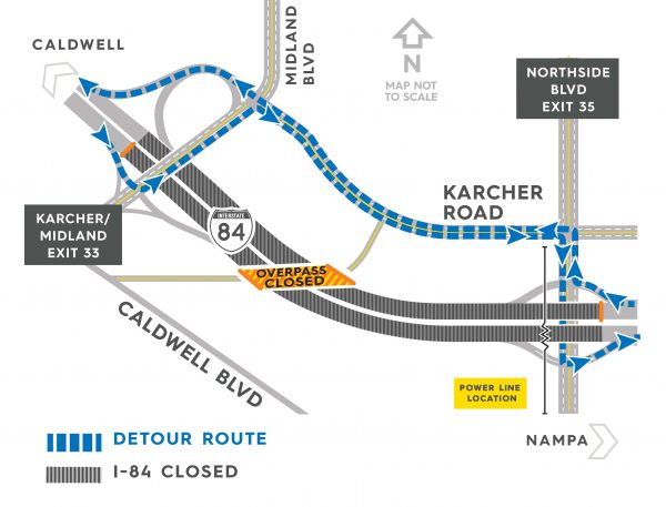 I-84 detour map for may 22, 2109