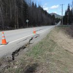 Cones show one slide on ID-57 north of Priest River.