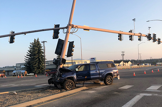US-95 signal at Kathleen Avenue in CDA removed after crash on Sunday