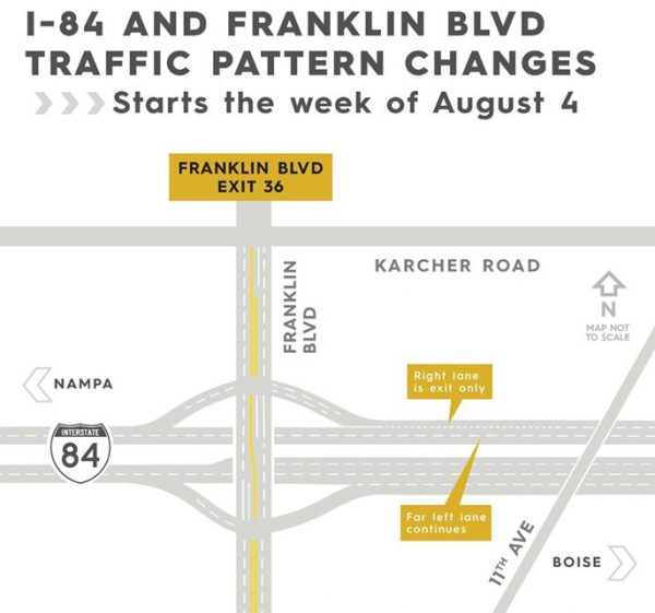 A graphic showing the new lane configuration of I-84 near Franklin Blvd.