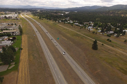Aerial shot of I-90 near state line.