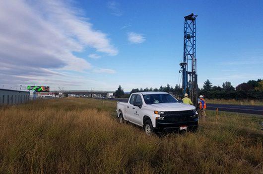 Drill crews set up on I-90 near ID-41 interchange in Post Falls.