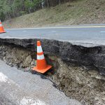 Slide damage at ID-97 at milepost 76.9 from April 2017.