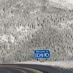 A sign welcomes drivers to Idaho on Lookout Pass on I-90.