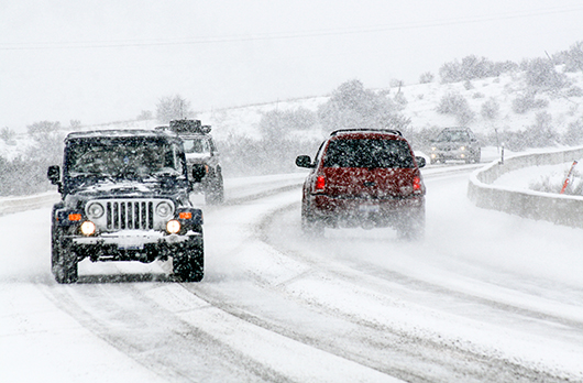 Vehicles traveling in winter conditions