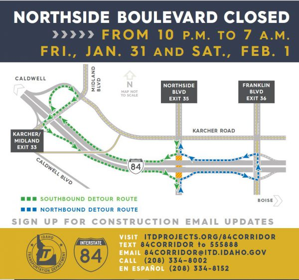 Detour route for Northside Closure