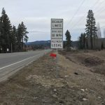 Spring breakup limit sign near US-95 and US-2 junction north of Bonners Ferry