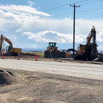 Crews and heavy equipment work along US-93 in Jerome County.