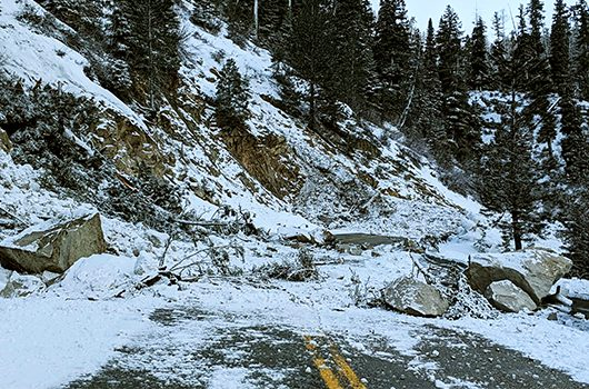 two landslides fell across idaho highway 21