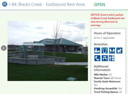 View of detailed rest area information on the 511 website