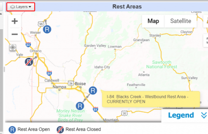 View of Idaho rest area map on 511 website