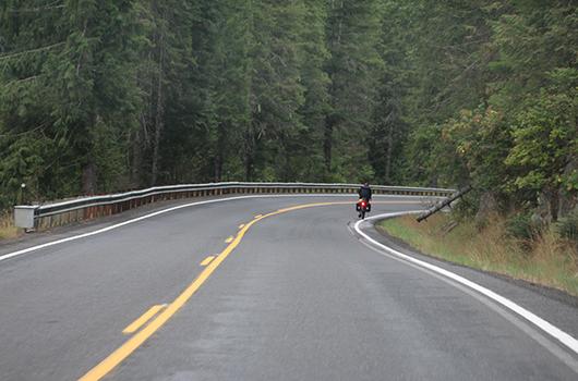 A bicyclist on US-12 east of Kooskia