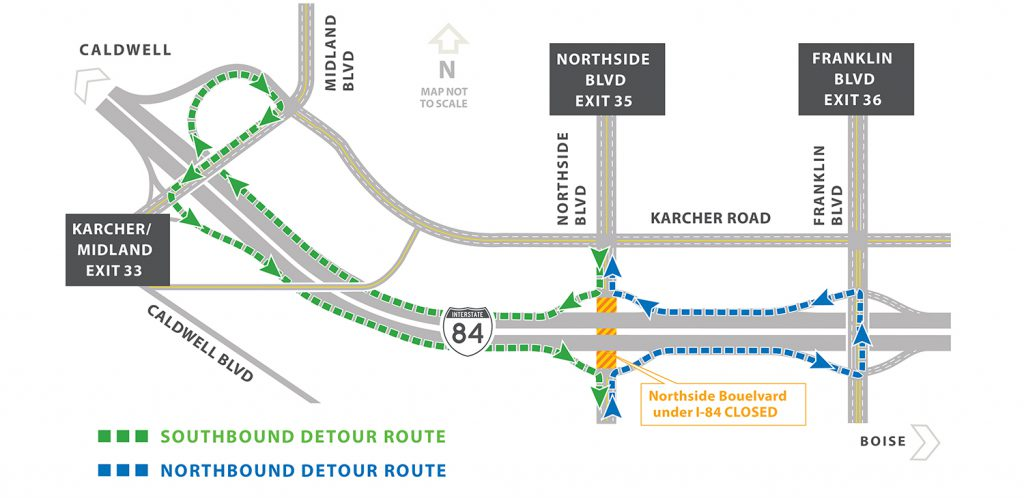 Construction of upgraded I-84 interchange at Northside Boulevard proceeds this weekend