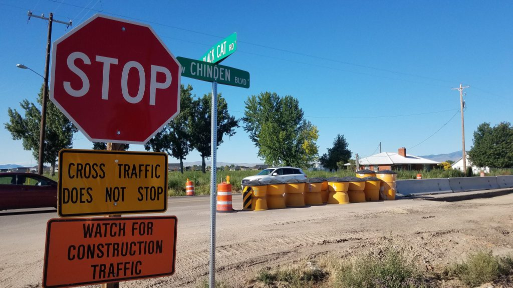 Black Cat Road closed at Chinden, July-August 2020