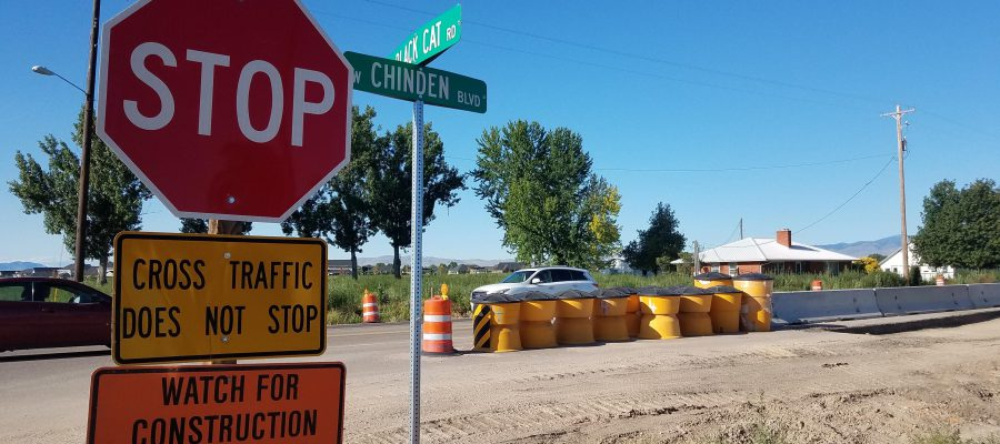 Intersection of Black Cat and Chinden with stop sign