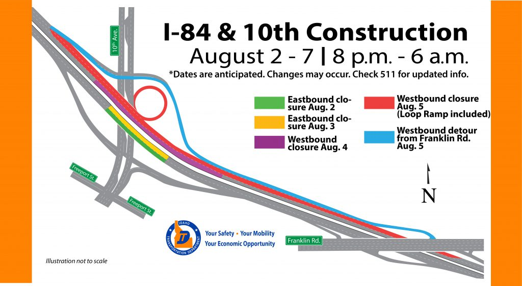 ITD to make repairs to I-84 bridge over 10th Ave in Caldwell week of Aug. 2