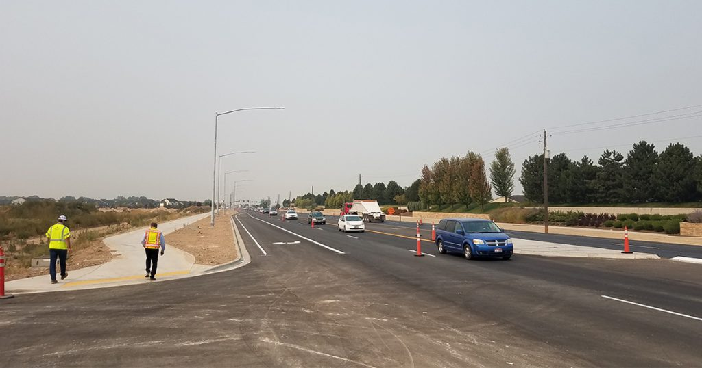 Additional lanes on ChindenWest Corridor complete from Idaho 16 to Linder Road, work to the east progresses