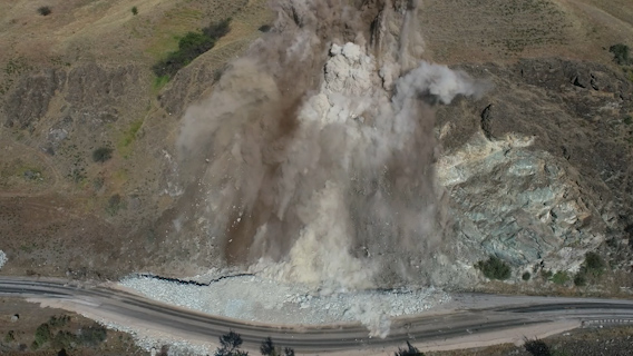 Still of the blast on US-95 MP 188 south of Riggins