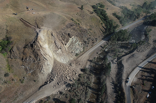 Photo of the slope at MP 188 on US-95 after the Aug. 28 blast