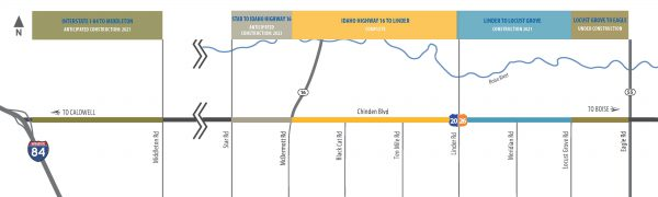 Schedule of construction on ChindenWest Corridor
