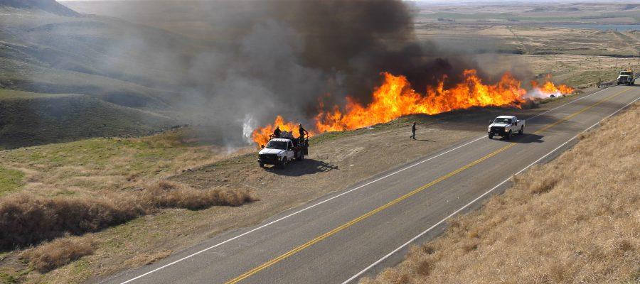 BLM crews conduct a prescribed burn along ID-51