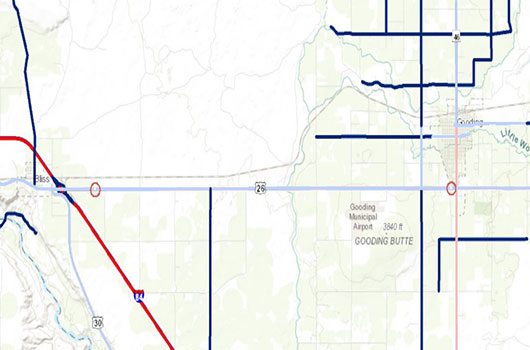 Map of two canal structures in Gooding County