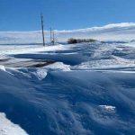 Drifting snow on ID-33 in Eastern Idaho