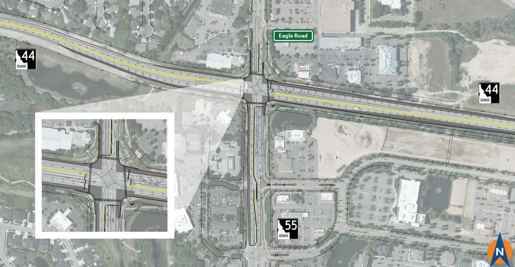 Eagle Rd. and Idaho Highway 44 (ID-44) intersection design reconfigured to traditional, signalized intersection