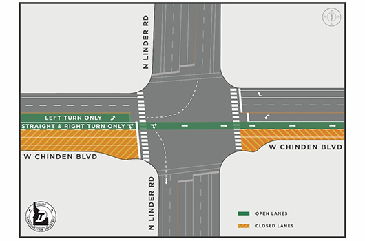 Eastbound lanes to close tonight on Chinden at the Linder intersection